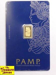 SEALED PAMP Suisse Swiss Made .9999 Fine Pure 24K Gold 1g One Gram Bar/Ingot NR!