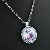 Mystical Butterfly Pendant, Cabochon Glass Silver Chain Pendant Necklace Jewelry