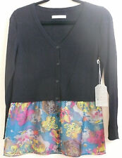 Subtle Luxury Ruffle Flounce Cardigan Sweater Black Multi-Color Size S-M NWT