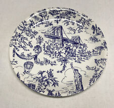 """Tiffany & Co """"New York Toile"""" Blue and White Salad Plates set Of 4"""