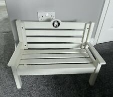 More details for charlie bears white wooden bench chair rare htf