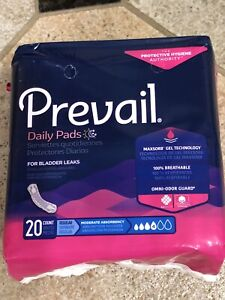 "Prevail Daily Incontinent Pad 9-1/4"" L Regular 20ct"