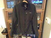 LL Bean Soft Shell Full Zip Fleece Lined Black Jacket SZ XXL - Cool