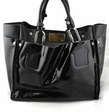 Chloé Cyndi Black Patent Leather Buckle Hardware Large Tote Satchel Bag Italy