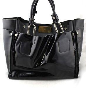 CHLOE Chloé Cyndi Black Patent Leather Buckle Hardware Tote Satchel Bag Italy