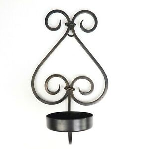 Decorative Black Bronze Metal Wall Hanging Candle Holder 13.5 in x 8 in