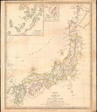 1835 Antiguo Mapa-Sduk-Imperio de Japón, inserción Nagasaki Harbour