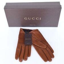GUCCI New sz 8 Authentic Designer Womens Leather GG Designer Gloves brown
