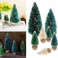5pcs Mini Sisal Bottle Brush CHRISTMAS Tree Santa Snow Frost Village Home House