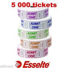 5000 Admission Tickets Admit One 5 x Rolls of 1000 Esselte 56011 Entry Tickets