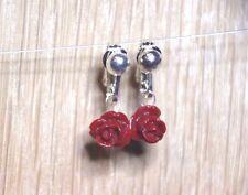 Clay Red Flower Clip On Earrings Rose Bud gift Handmade Dangle