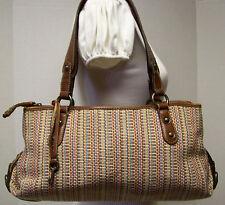 Fossil Multi Color Stripe Woven Satchel Handbag Shoulder Bag Tote Purse