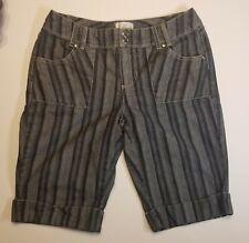 White House Black Market WHBM Striped Blue Denim Bermuda Shorts Cotton Women's 6