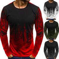 Men Stylish Gradient Long-Sleeve Basic T-Shirts Casual Fitness Gym T-Shirt Tee