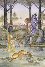 "Amy Brown Fairy Faery Fantasy Art Print 6""x9"" Wishing Fish Octopus Golden Purple"