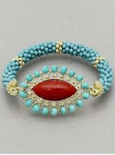Turquoise Lucite Star Bead Coral Lucite Stud Eye Shape Face Stretch Bracelet