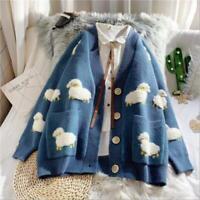 Womens Korean New Fashion Warm Sheep Loose Knitted Sweater Cardigan Outwear SKGB