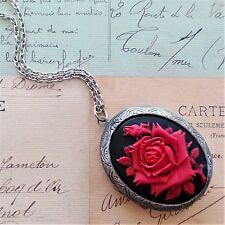 Victorian Vintage enorme BLACK RED ROSE Cameo Antico Argento Medaglione Collana