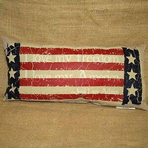 Americana Flag I Love My Freedom Throw Pillow Home Decor