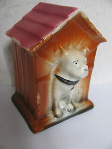 ANTIQUE CERAMIC MONEY BANK,MONEY BOX DOG HOUSE