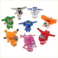 8Pcs TV Animation Super Wings Transforming Plane Mini Characters Toys kids XMAS