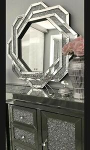 Mirror Crushed Diamond Wall Mirror Crystal Sparkly Bevelled Edge Large 90x90cm