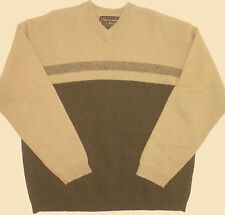 Mens L Large 49 Chest Abercrombie & Fitch Beige Green Shetland Wool Sweater