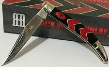 Black Widow Hunting Pocket Knife Red Turquoise W/ Display Case !