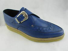 Steel Ground New Shoes Blue Leather Creepers Monk Buckle Pointed Toe Rock