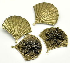 Pop 20 Bronze Filigree Flower Leave Charm Pendants Embellishments Findings 4x4cm