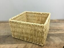 Woven Wicker W/ Metal Support Square Storage Basket Decor