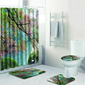Cherry Tree Blossoms Shower Curtain Cloth Fabric Spring Scenic Bath Decor Rug