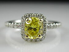 18K Fancy Yellow Oval Diamond Halo Engagement Ring White Gold $5000