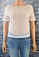 Elegant Cropped White Short Sleeved Round Neck Layer Top Blouse Size 14
