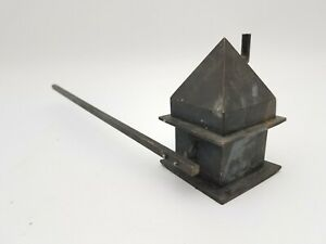 "3"" Mini Farm House Figure Metal Candle Snuffer 9"" Handle Unique Gift Handmade"