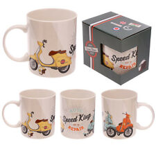 """Funky Scooter """"Speed King"""" Design Bone China Mug Birthday Gift Idea Comes Boxed"""