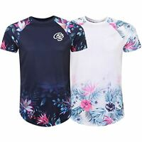 Mens Crosshatch Short Sleeve Floral T Shirt Top Tee Printed Sleeve Crew Neck