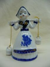Vintage Hand Painted White Porcelain Dutch Girl Bell Water Bucket Clappers