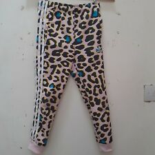 Adidas tracksuit bottoms age 7-8 Pink Leopard Print White Stripes very good cond