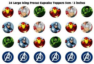 24 Large ICING Avengers Superhero Cupcake Toppers edible image decorations 5cm