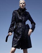 $1,990 AKRIS Punto Collar Crocodile Black Patent Faux Leather Coat Trench 4 (38)
