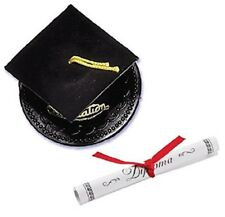 1 Graduation Cap Cake Topper Black cake decoration with paper diploma