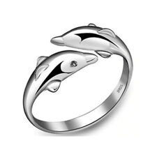 Dolphin Ring 925 Sterling Silver Plated 3D Beach Summer Rings | Anillo de Delfin