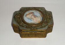 Antique French Gilt Bronze Jewelry Box, Painted Portrait Insert, c. 1900