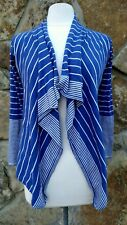 Willi Smith Open Cardigan S Long Sleeve Blue And White Striped