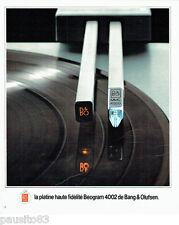 PUBLICITE ADVERTISING 066  1978  la platine Hf Beogram 4002 de Bang & Olufsen
