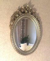 Specchio Muro Oggetto D'antiquariato Argento Ovale Specchio Bagno