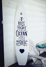 6 Foot Wood White Surfboard Wall Art Decor Quote Lost My Heart to the Ocean