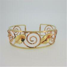 & Swirl Cutout Pattern Cuff Bracelet Vintage Krementz Signed Gold Filled Leaves