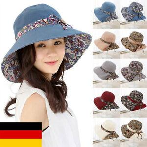 Damen Hüte Sommer Fischerhut Anglerhut Faltbarer Breite Krempe Elegant Sonnenhut